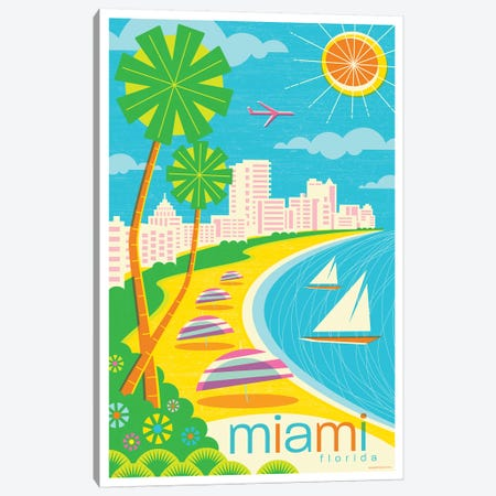 Miami Modern Travel Poster Canvas Print #JZA26} by Jim Zahniser Canvas Art Print