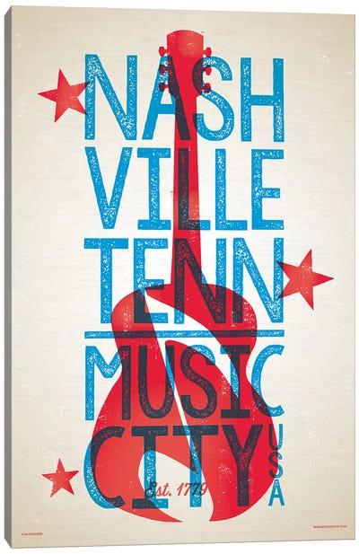 Nashville Letterpress Style Poster Canvas Art Print