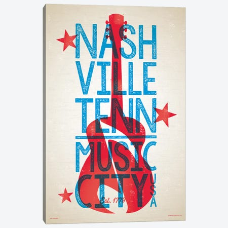 Nashville Letterpress Style Poster Canvas Print #JZA27} by Jim Zahniser Canvas Art Print