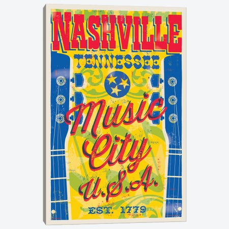 Nashville Music City U.S.A. Poster Canvas Print #JZA28} by Jim Zahniser Canvas Wall Art