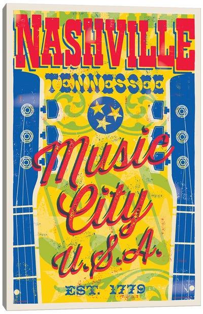 Nashville Music City U.S.A. Poster Canvas Art Print