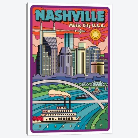 Nashville Pop Art Travel Poster 3-Piece Canvas #JZA29} by Jim Zahniser Canvas Art