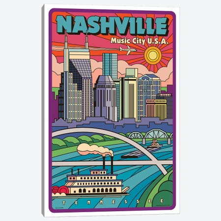 Nashville Pop Art Travel Poster Canvas Print #JZA29} by Jim Zahniser Canvas Art