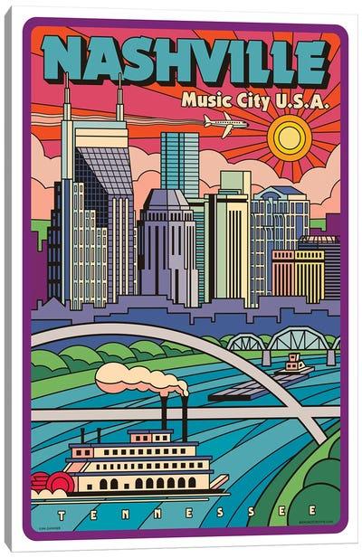 Nashville Pop Art Travel Poster Canvas Art Print
