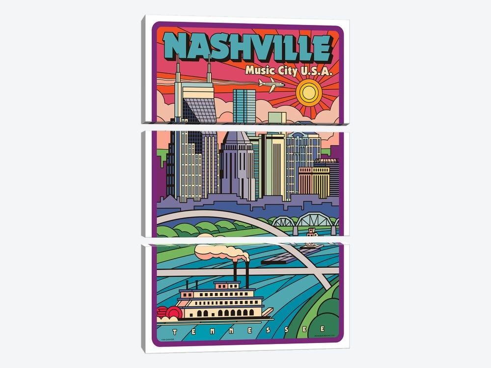 Nashville Pop Art Travel Poster by Jim Zahniser 3-piece Canvas Wall Art