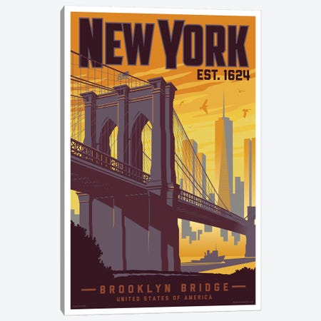 New York Brooklyn Bridge Travel Poster Canvas Print #JZA30} by Jim Zahniser Art Print