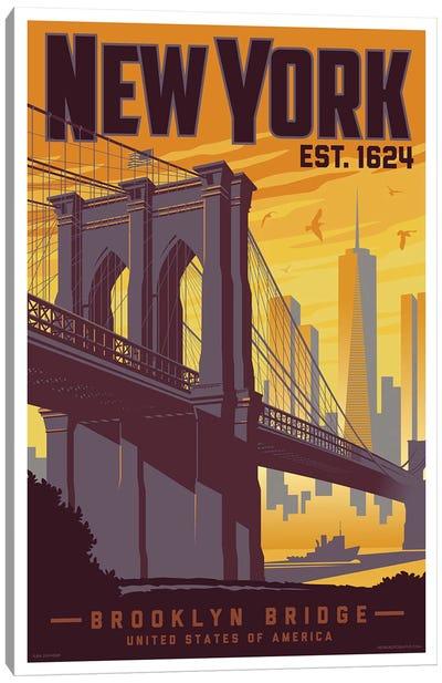 New York Brooklyn Bridge Travel Poster Canvas Art Print