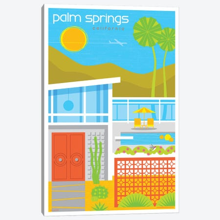 Palm Springs Mid Century House Travel Poster Canvas Print #JZA31} by Jim Zahniser Canvas Print