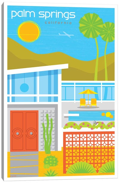 Palm Springs Mid Century House Travel Poster Canvas Art Print