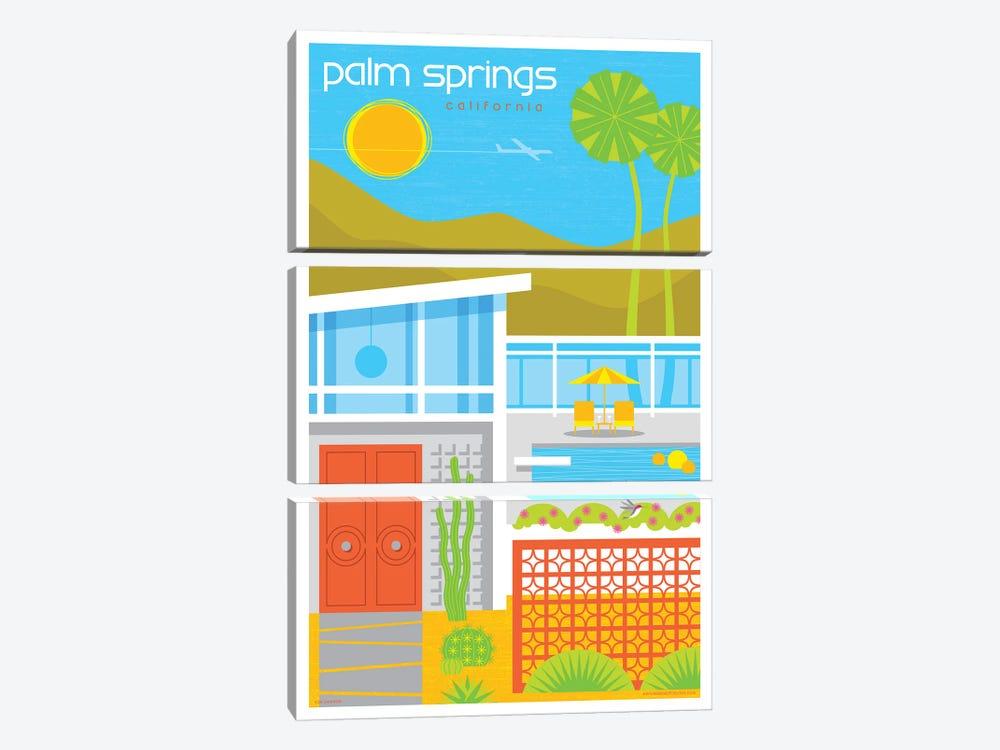 Palm Springs Mid Century House Travel Poster by Jim Zahniser 3-piece Art Print