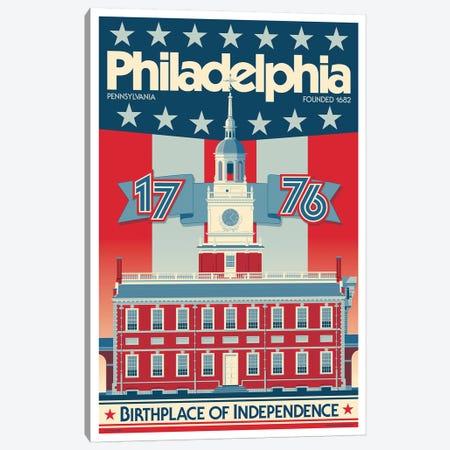 Philadelphia Independence Hall Travel Poster Canvas Print #JZA33} by Jim Zahniser Canvas Print