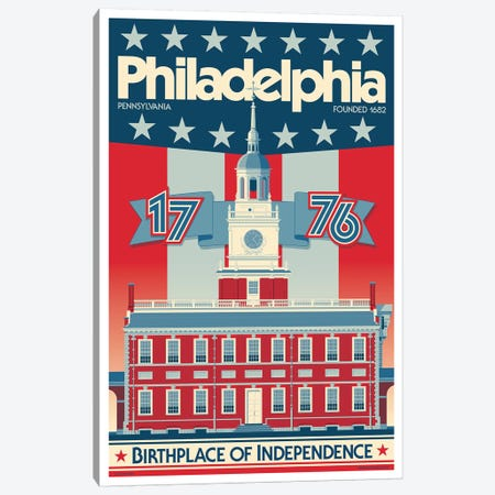 Philadelphia Independence Hall Travel Poster Canvas Print #JZA33} by Jim Zahniser Canvas Print