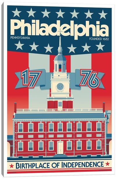 Philadelphia Independence Hall Travel Poster Canvas Art Print