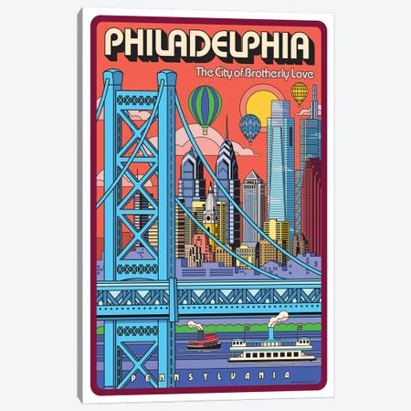 Philadelphia Pop Art Travel Poster Canvas Print #JZA34} by Jim Zahniser Canvas Artwork