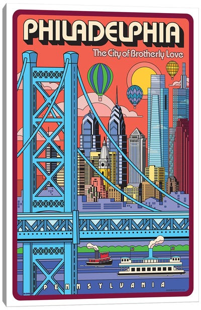 Philadelphia Pop Art Travel Poster Canvas Art Print