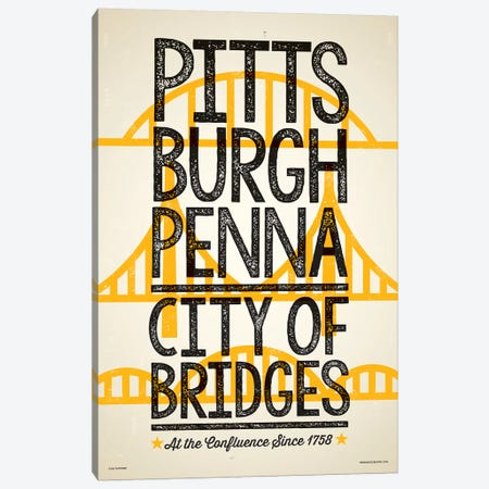 Pittsburgh City of Bridges Poster Canvas Print #JZA35} by Jim Zahniser Canvas Wall Art