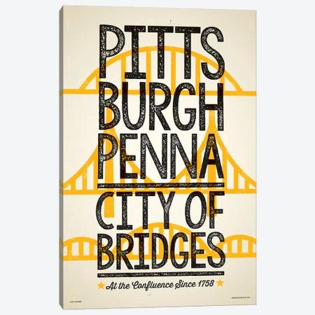 Pittsburgh City of Bridges Poster Canvas Print #JZA35} by Jim Zahniser Canvas Wall Art