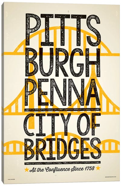 Pittsburgh City of Bridges Poster Canvas Art Print