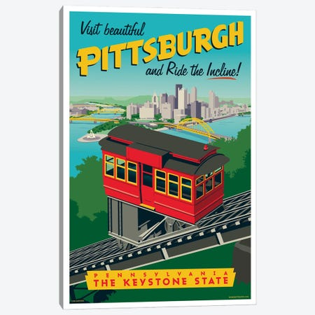Pittsburgh Incline Travel Poster Canvas Print #JZA36} by Jim Zahniser Canvas Artwork