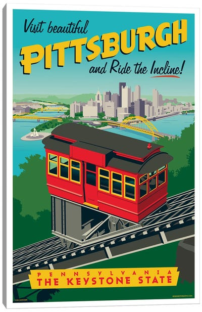 Pittsburgh Incline Travel Poster Canvas Art Print