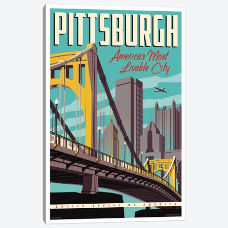 Pittsburgh Most Livable City Travel Poster Canvas Print #JZA37} by Jim Zahniser Canvas Artwork