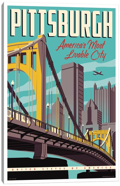 Pittsburgh Most Livable City Travel Poster Canvas Art Print