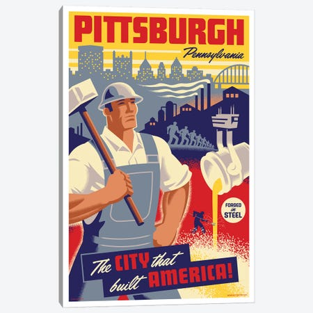Pittsburgh Steel Worker Travel Poster Canvas Print #JZA38} by Jim Zahniser Art Print