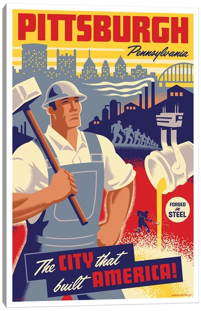 Pittsburgh Steel Worker Travel Poster Canvas Art Print