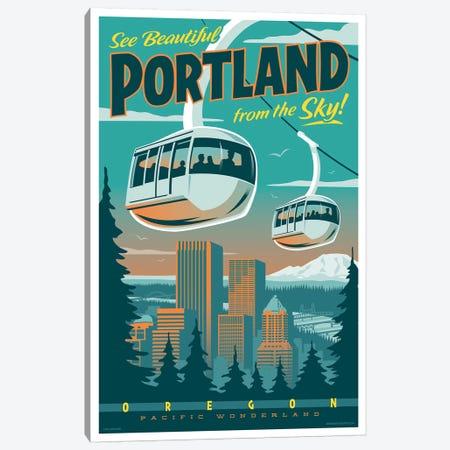 Portland Tram Travel Poster Canvas Print #JZA39} by Jim Zahniser Canvas Print