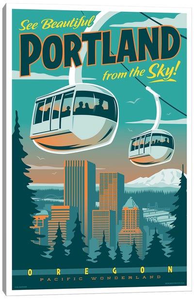 Portland Tram Travel Poster Canvas Art Print