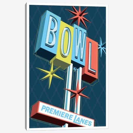 Premier Lanes Bowling Travel Poster Canvas Print #JZA40} by Jim Zahniser Canvas Wall Art