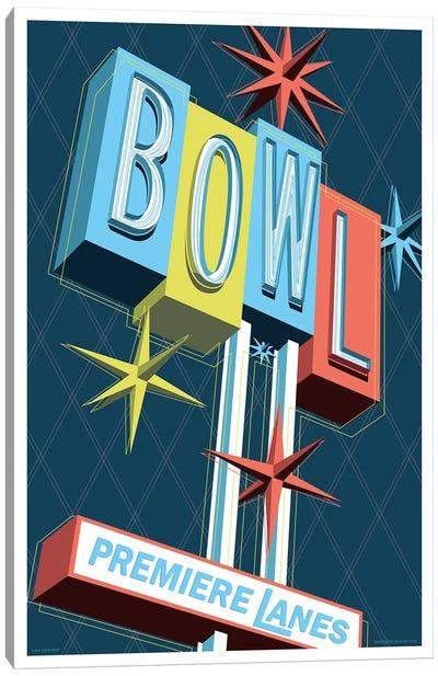 Premier Lanes Bowling Travel Poster Canvas Art Print