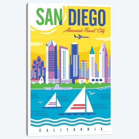 San Diego Travel Poster Canvas Print #JZA42} by Jim Zahniser Canvas Wall Art