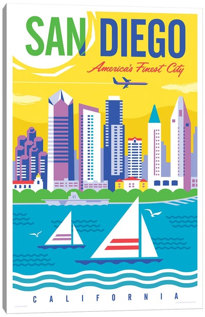 San Diego Travel Poster Canvas Art Print