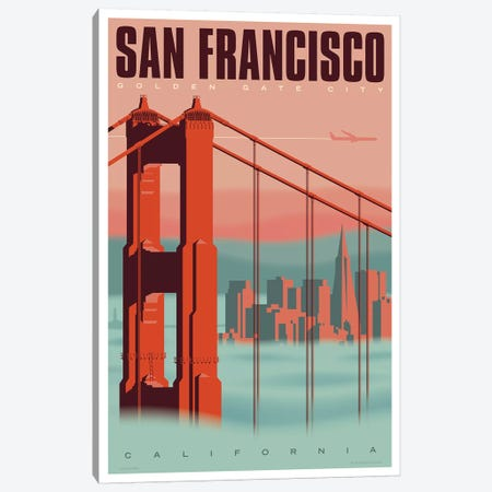 San Francisco Travel Poster Canvas Print #JZA44} by Jim Zahniser Art Print