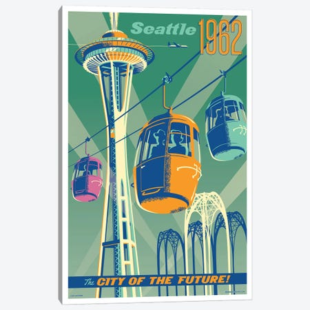 Seattle 1962 Travel Poster Canvas Print #JZA45} by Jim Zahniser Canvas Art Print