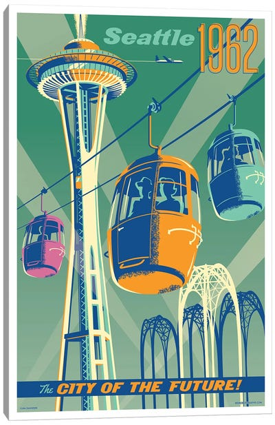 Seattle 1962 Travel Poster Canvas Art Print