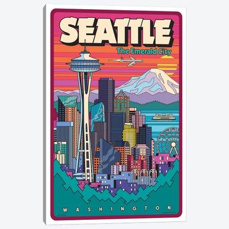 Seattle Pop Art Travel Poster Canvas Print #JZA46} by Jim Zahniser Art Print