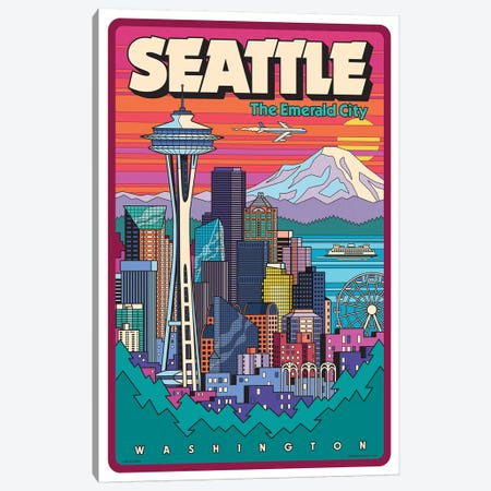 Seattle Pop Art Travel Poster Canvas Print #JZA46} by Jim Zahniser Art Print