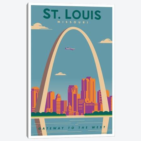 St. Louis Travel Poster 3-Piece Canvas #JZA48} by Jim Zahniser Canvas Artwork