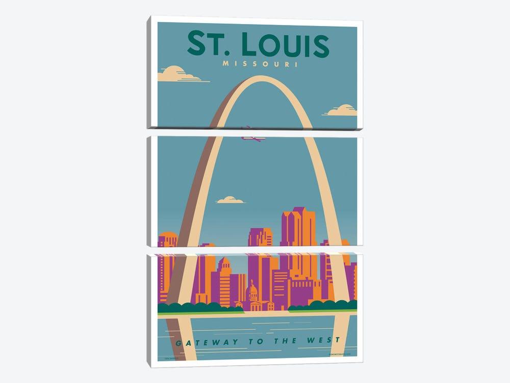 St. Louis Travel Poster by Jim Zahniser 3-piece Canvas Print