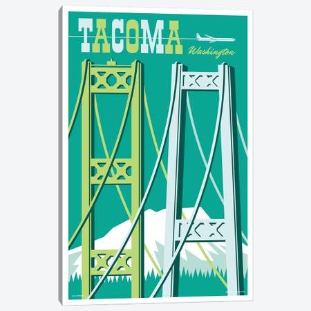 Tacoma Bridges Travel Poster I Canvas Print #JZA49} by Jim Zahniser Canvas Art