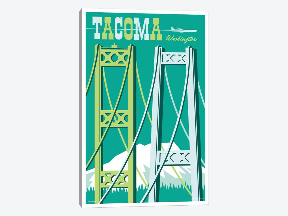Tacoma Bridges Travel Poster I by Jim Zahniser 1-piece Canvas Art