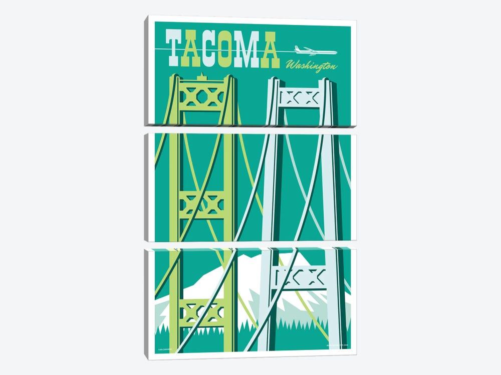 Tacoma Bridges Travel Poster I by Jim Zahniser 3-piece Canvas Art