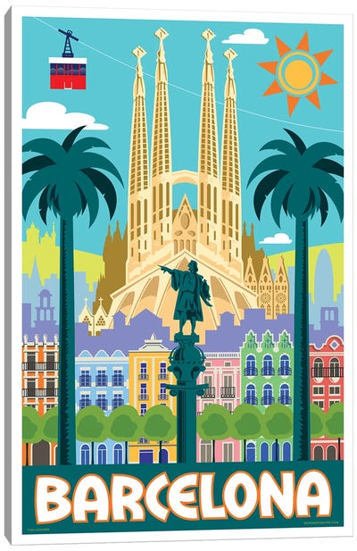 Barcelona Travel Poster Canvas Art Print