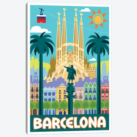Barcelona Travel Poster Canvas Print #JZA4} by Jim Zahniser Canvas Print
