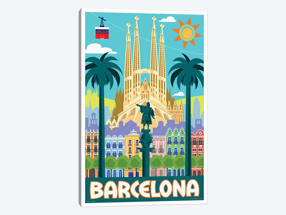 Barcelona Travel Poster by Jim Zahniser 1-piece Canvas Artwork