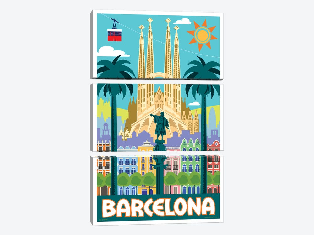 Barcelona Travel Poster by Jim Zahniser 3-piece Canvas Artwork
