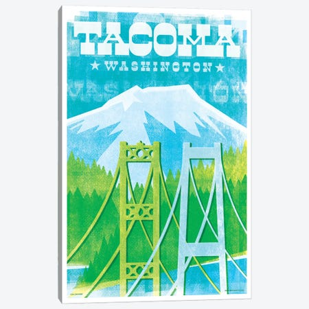 Tacoma Bridges Travel Poster II Canvas Print #JZA50} by Jim Zahniser Art Print