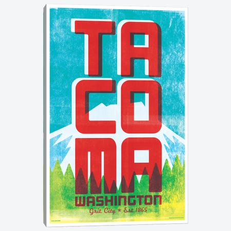 Tacoma Typography Poster Canvas Print #JZA51} by Jim Zahniser Art Print